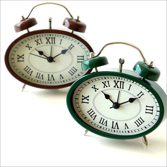 目覚まし時計 おしゃれ アナログ アンティーク かわいい クラシック レトロ 置時計 置き時計 ローマ数字 アラーム 小さい 小型 目覚まし置時計 2カラー