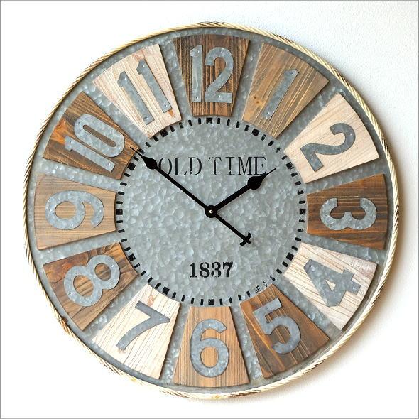 壁掛け時計 壁掛時計 掛け時計 掛時計 大きい 直径80cm アンティーク ヴィンテージ おしゃれ 木製 スチール レトロ ウォールクロック ビッグな掛け時計【送料無料】