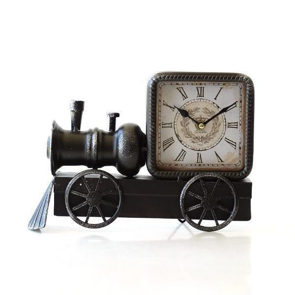 置き時計 おしゃれ アンティーク レトロ アナログ 機関車 ユニーク デザイン トレインスタンドクロック [peo7028]
