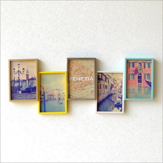 フォトフレーム 壁掛け おしゃれ 写真立て 木製 複数 多面 5枚 5面 5窓 横長 ファミリー シンプル モダン 北欧 デザイン フォトスタンド 5連コラージュフレーム