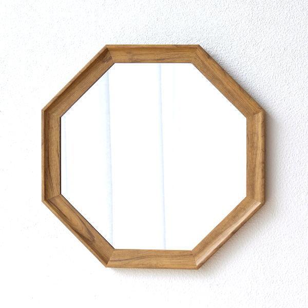 鏡 壁掛けミラー 八角形 八角ミラー 八角鏡 おしゃれ 木製 シンプル ナチュラル 玄関 ウッディーなウォール八角ミラー [plk2220]