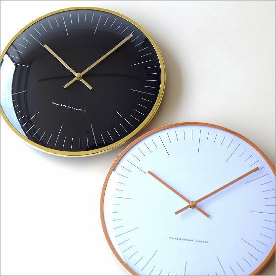 掛け時計 おしゃれ シンプル ウォールクロック ブラック 黒 ホワイト 白 モダン インテリア シンプルメタルクロック 2カラー