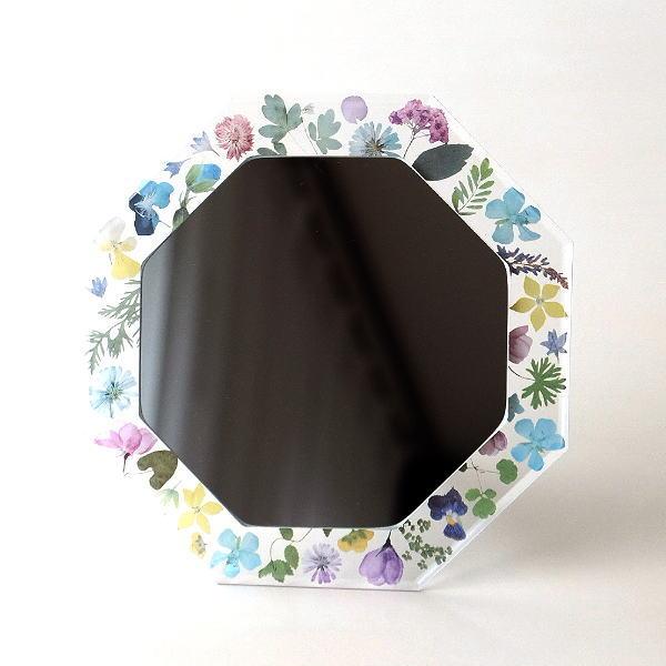 鏡 八角ミラー 八角形 壁掛け 卓上 おしゃれ かわいい 可愛い 風水 花 フラワー フローラルフレーム八角ミラー [plk7039]