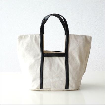 キャンバスと牛革のバッグ