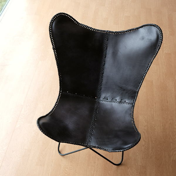 レザーチェア 本革 アイアン アンティーク レトロ 革製 椅子 おしゃれ ヴィンテージ 革張り 背もたれ リビングチェア レザーバタフライチェアー B 【送料無料】 [ras0433]