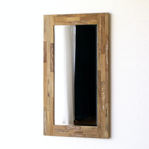鏡 壁掛けミラー オールドチーク 木製 天然木 面取り加工 大きい 大型 ウォールミラー ヴィンテージ アンティーク オールドチークウッドのビッグミラー 【送料無料】 [ras0492]