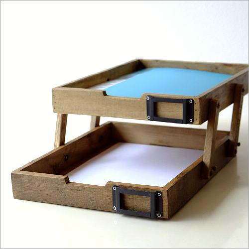 デスクトレー 書類ケース レターケース A4 木製 おしゃれ レトロ 卓上 シャビーなウッド2段トレイ
