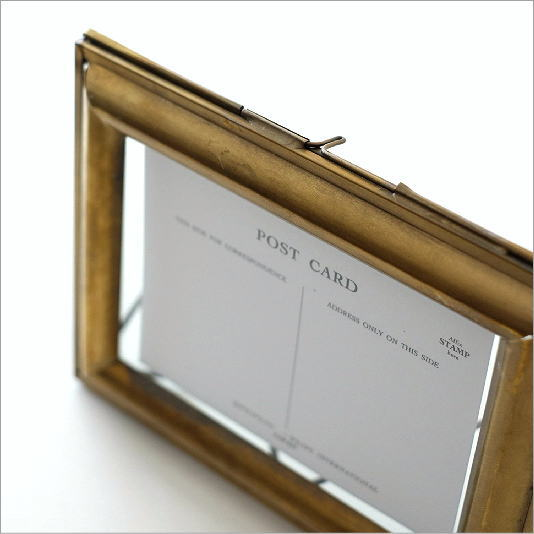フォトフレーム おしゃれ アンティーク レトロ シンプル 写真立て 真鍮 ブラスフォトフレーム B