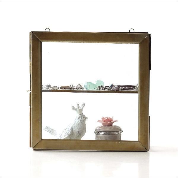 ガラスと真鍮のスリムな壁掛BOX [ras3469]
