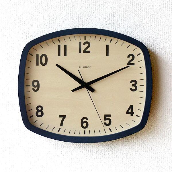 掛け時計 壁掛け時計 おしゃれ 木製 無垢材 静音 静か スイープムーブメント 連続秒針 モダン シンプル 見やすい 日本製 ウォールクロック NAVY 【送料無料】 [ras4534]