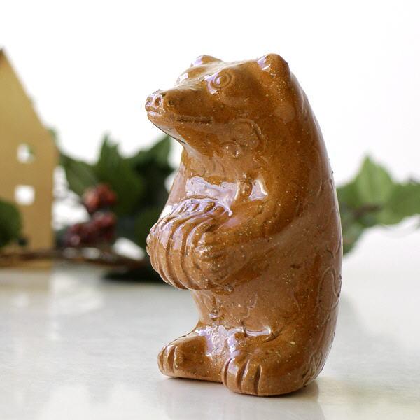 クマ 置物 熊 オブジェ インテリア 陶器 焼き物 陶器のくまの置物 [ras4535]