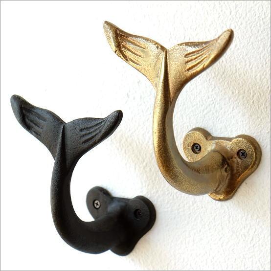 壁掛けフック おしゃれ コートフック 帽子掛け クジラ 海 マリン インテリア アイアンホエールフック 2カラー