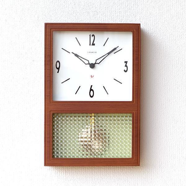 振り子時計 掛け時計 壁掛け時計 おしゃれ 木製 クラシック レトロ モダン ナチュラル 四角 見やすい 日本製 チェリーブラウン振り子時計 【送料無料】 [ras4948]