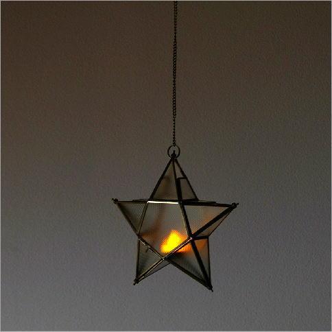 LED付き吊り下げキャンドルホルダー スターB