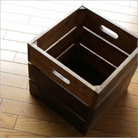 木箱 収納ボックス ウッド レトロ インテリア カフェ ヴィンテージ アンティーク風 シャビーシックなフリーボックス