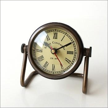 置時計 おしゃれ アンティーク レトロ 卓上 時計 クラシック スタンドクロック ベッドサイド 寝室 アナログ ローマ数字 デザイン 真鍮のデスククロック