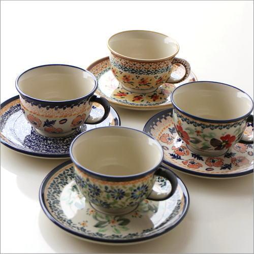 ポーランド陶器のカップ&ソーサー4タイプ [ras6092]
