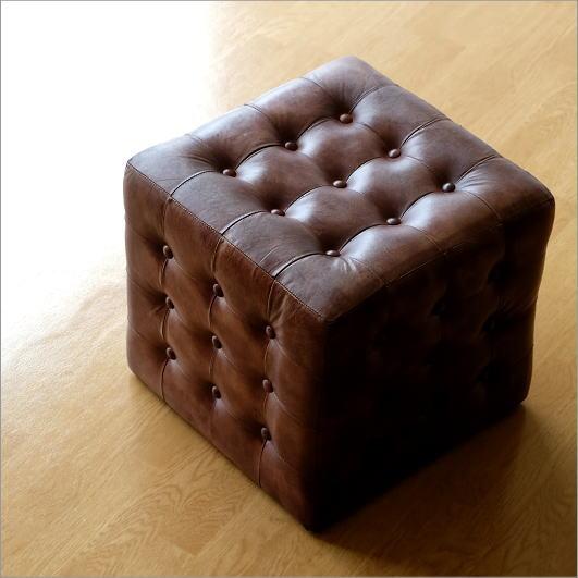 スツール レザー 本革 アンティーク おしゃれ レトロ レザーチェア 革製 椅子 イス 腰掛け かっこいい インテリア リビング家具 レザースツール キューブ【送料無料】