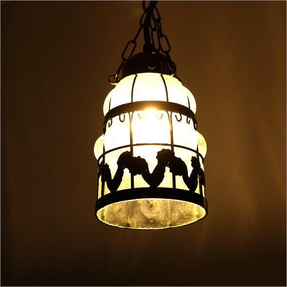 ペンダントライト おしゃれ カフェ風 アンティーク レトロ LED対応 シーリングライト アイアンとガラスのペンダントライト ローズスリム