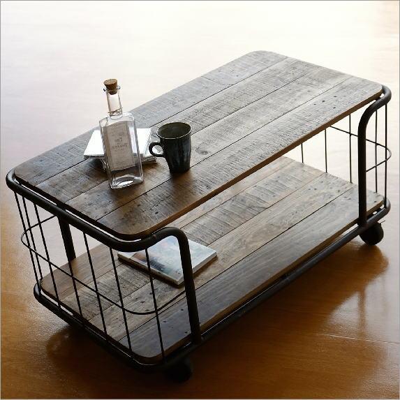 センターテーブル コーヒーテーブル キャスター付き 木製 アイアン 棚 シェルフ 収納棚 シャビーシックなアイアンコンソールラック【送料無料】