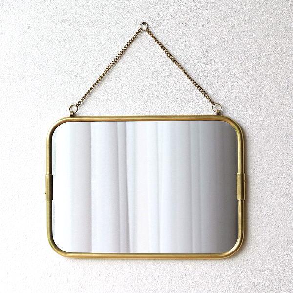 真鍮の壁掛けミラーM [ras7484]