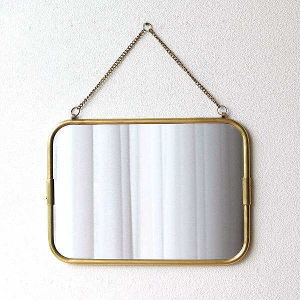 鏡 壁掛けミラー おしゃれ アンティーク レトロ ゴールド ウォールミラー シンプル 真鍮 玄関 洗面所 トイレ 四角 横長 スタイリッシュ 真鍮の壁掛けミラーM [ras7484]