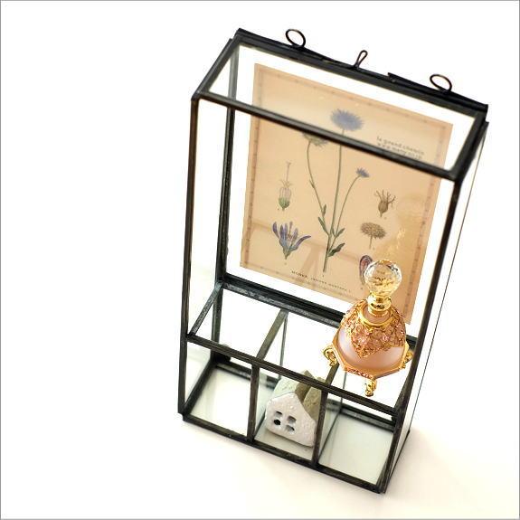ガラスケース 壁飾り 小物入れ 壁掛け ボックス フォトフレーム 飾り 壁面 インテリア おしゃれ アイアンとガラスのフレーム付きボックス