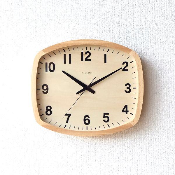 掛け時計 壁掛け時計 おしゃれ 木製 無垢材 ブナ 静音 静か スイープムーブメント 連続秒針 ウォールクロック NA 【送料無料】 [ras7765]