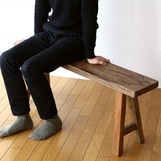 ベンチ 木製ベンチ ウッドベンチ 天然木 スリム 省スペース 長椅子 レトロ シャビーシックなウッドベンチ 【送料無料】 [ras8115]