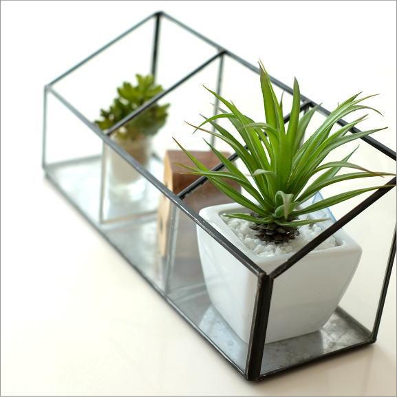 小物入れ ガラス アンティーク おしゃれ 仕切り収納 ガラスとアイアンの3ブロックBOX