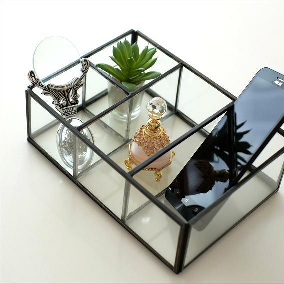 小物入れ ガラス アンティーク おしゃれ 仕切り収納 ガラスとアイアンの4ブロックBOX