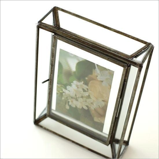 フォトフレーム 写真立て おしゃれ シンプル モダン アンティーク ガラスとアイアンのBOXフレーム
