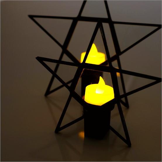キャンドルホルダー アイアン アンティーク ガラス スター 星 おしゃれ キャンドルスタンド 卓上 キャンドルホルダー2サイズセット スター