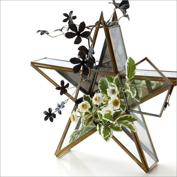 ガラスケース 小物入れ インテリアオブジェ 置物 星 スター 雑貨 おしゃれ 卓上 壁掛け アクセサリーケース 花入れ 花器 レトロな壁掛けスターケース