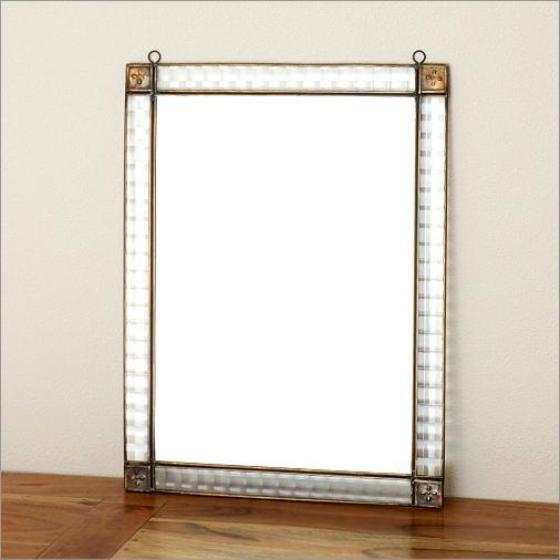 鏡 壁掛けミラー アンティーク おしゃれ 玄関 ウォールミラー アイアンとガラスのミラーA