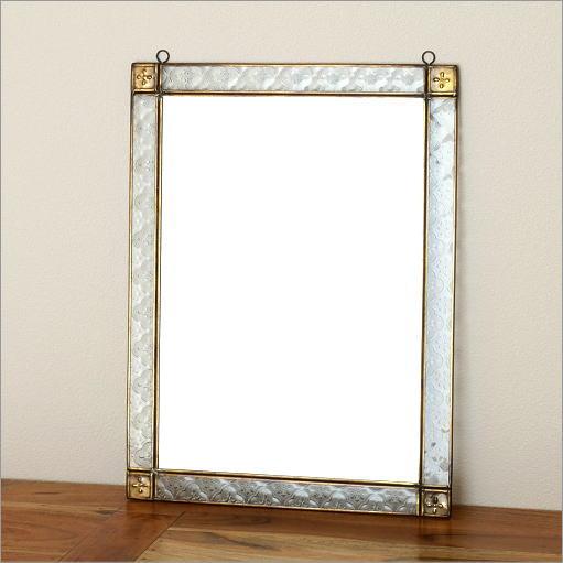 鏡 壁掛けミラー アンティーク おしゃれ 玄関 ウォールミラー アイアンとガラスのミラーB