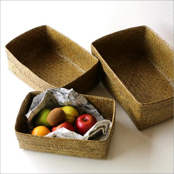 かご カゴ 収納 雑貨 バスケット シンプル 自然素材 ナチュラルなかご スクエア3サイズセット [sam2607]