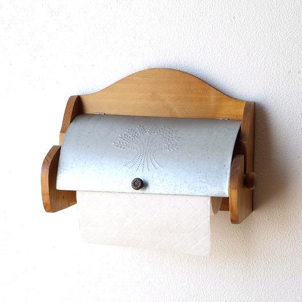 キッチンペーパーホルダー 壁 木製 ウッド ブリキ ナチュラル カントリー 素朴なキッチンペーパーホルダー [scc0787]