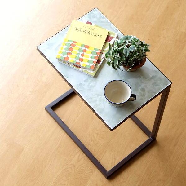 サイドテーブル アイアン コの字型 ソファ横 ソファーサイドテーブル ベッドサイドテーブル おしゃれ モダン アンティーク エレガント マーブルサイドテーブル [sik0590]