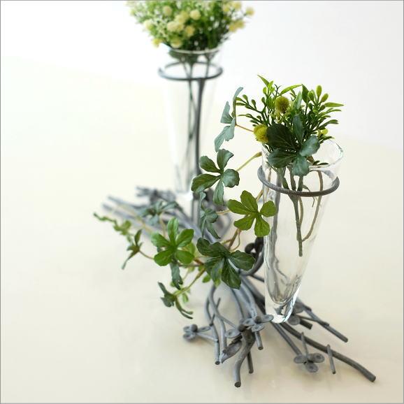 花瓶 ガラス 一輪挿し おしゃれ フラワーベース 花器 ガラスのツインベース グレイ