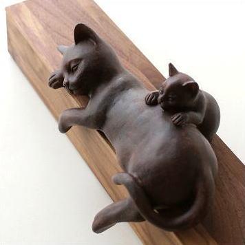 猫 置物 インテリアオブジェ かわいい 猫雑貨 猫グッズ おしゃれ ねこ 置き物 親子ネコのお昼寝