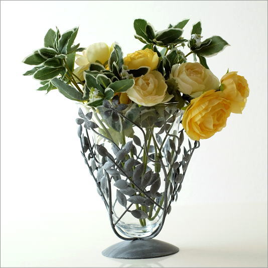 花瓶 ガラス おしゃれ フラワーベース 花器 アイアンリーフの花瓶 グレイ
