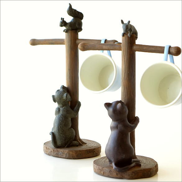 マグカップホルダー ネコ イヌ かわいい マグカップスタンド おしゃれ リス ネズミ 動物 アニマル マグカップ 引っ掛け 吊り下げ マグカップホルダー 2タイプ