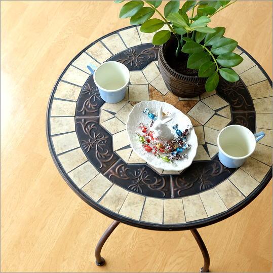 ガーデンテーブル おしゃれ アイアン カフェテーブル コーヒーテーブル ベランダ バルコニー アンティーク ラウンドテーブル ガーデンテーブル フュージョン【送料無料】