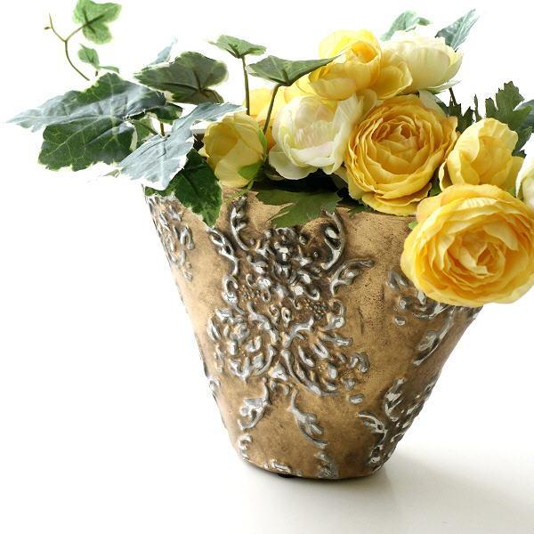 フラワーベース 花瓶 陶器 花器 おしゃれ アンティーク 横長 モダン 花入れ 花びん 陶器のゴールドベース スモール [sik2038]