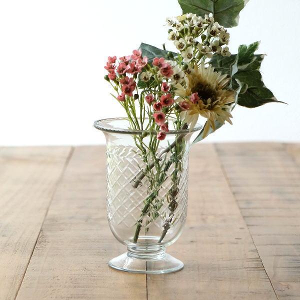 花瓶 おしゃれ ガラス フラワーベース 花器 ガラスベース プレゼント ブーケ 陶器の掛花 ショートグラスベース フット [sik2488]