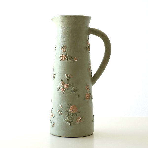 花瓶 フラワーベース おしゃれ 陶器 レトロ かわいい バラ 花模様 テラコッタローズウッドピッチャー [sik2806]