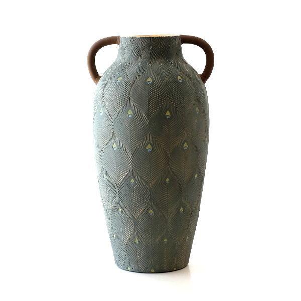花瓶 フラワーベース おしゃれ 陶器 クジャク 模様 壺 デザイン 大きな 大きい テラコッタピーコックベース 【送料無料】 [sik2832]