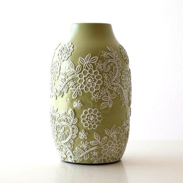 花瓶 フラワーベース おしゃれ 陶器 かわいい レース模様 花柄 壺 テラコッタフラワーガーデンベース [sik2833]