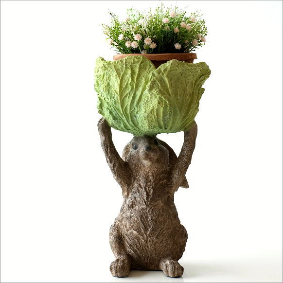 うさぎ 置物 雑貨 小物入れ おしゃれ プランターカバー 鉢植え ウサギ かわいい かご カゴ インテリア オブジェ 兎 キャベツコンテナのラビット B
